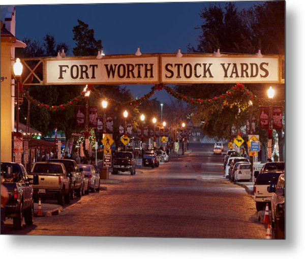 Fort Worth Stock Yards Night Metal Print