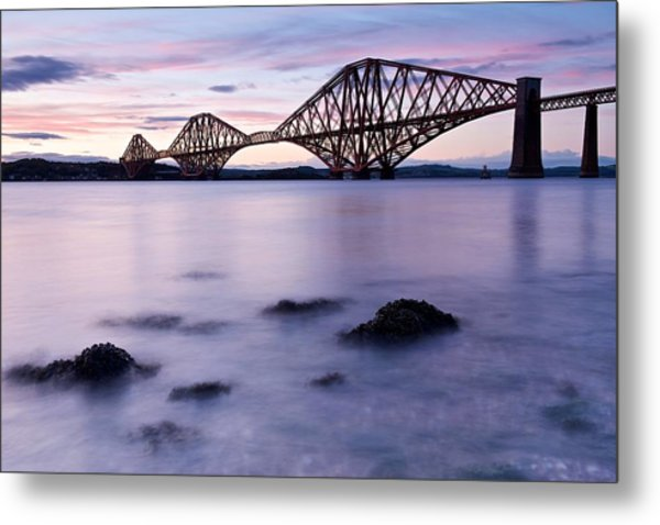 Forth Bridge At Sundown Metal Print