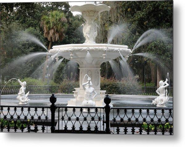 Fountain At Forsyth Park Savannah Metal Print