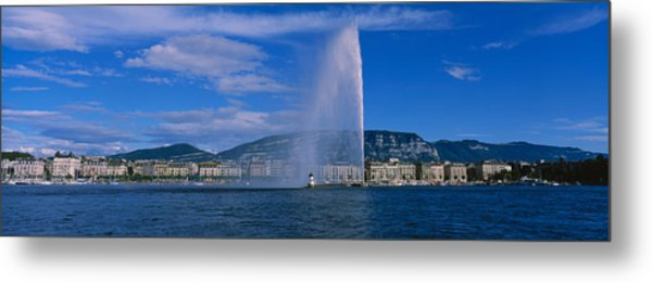 Fountain In Front Of Buildings, Jet Metal Print