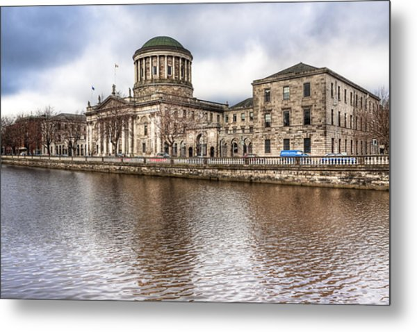 Four Courts On The River Liffey In Dublin Metal Print by Mark Tisdale