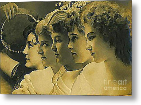 Four Edwardian Actresses In 1910 Metal Print by Dwight Goss