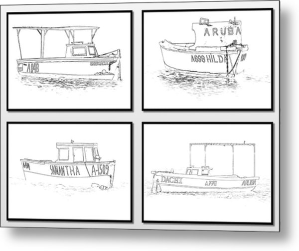 Four Fishing Boats Of Aruba Metal Print