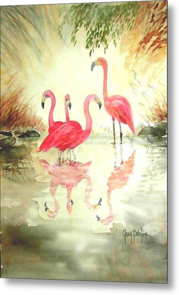 Four Flamingos Metal Print