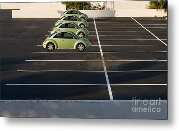 Four Green Beetles Metal Print