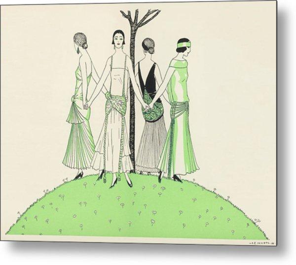 Four Ladies Holding Hands, Wearing Metal Print