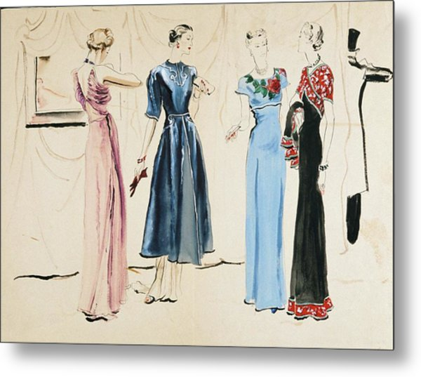 Four Models In Dresses By Alix Metal Print