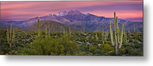 Four Peaks Sunset Panorama Metal Print