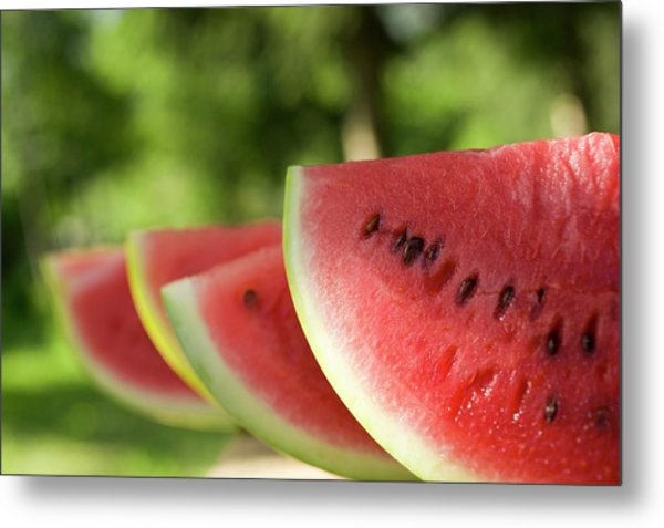 Four Slices Of Watermelon Metal Print