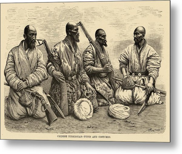 Four Uighur Men From The  Far West Metal Print