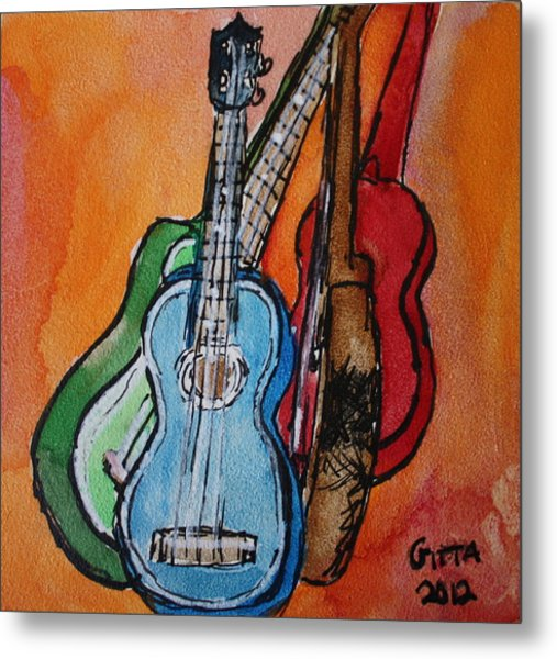 Four Ukuleles Metal Print