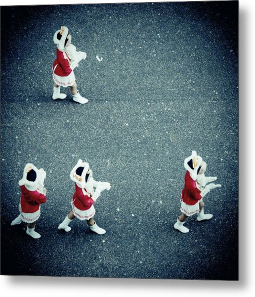 Four Women In Uniforms Marching Metal Print