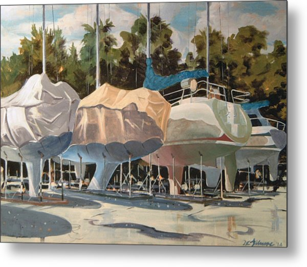 Four Yachts At Rest Metal Print