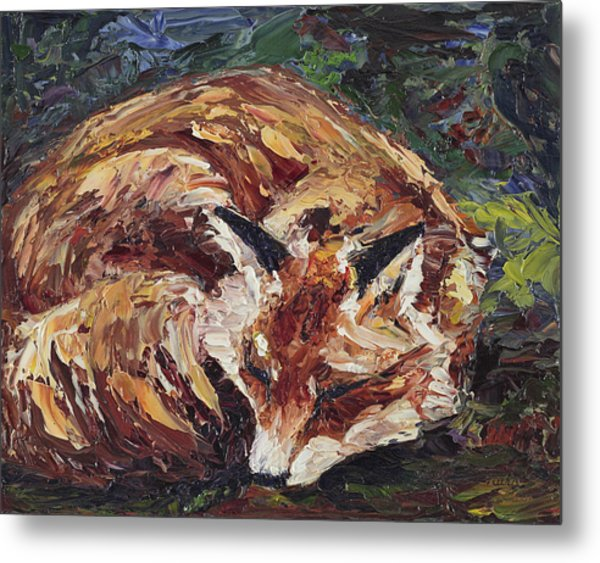 Fox Asleep Metal Print