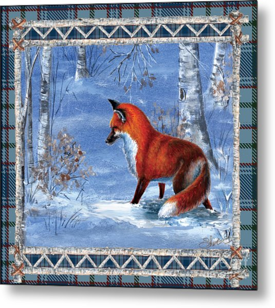 Fox In The Birch Woods Metal Print