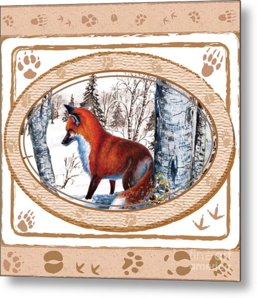 Fox On The Trail Metal Print