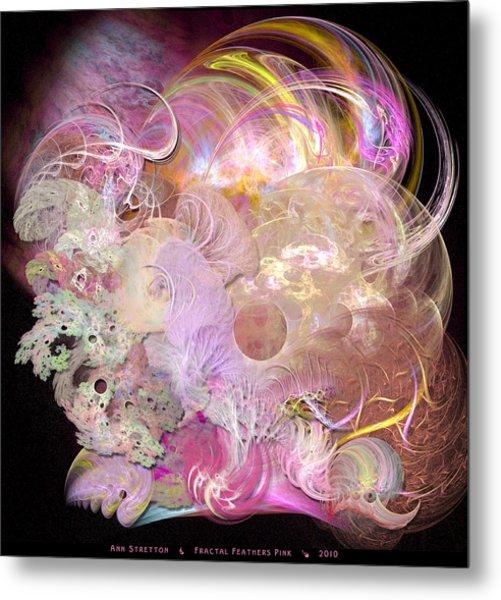 Fractal Feathers Pink Metal Print