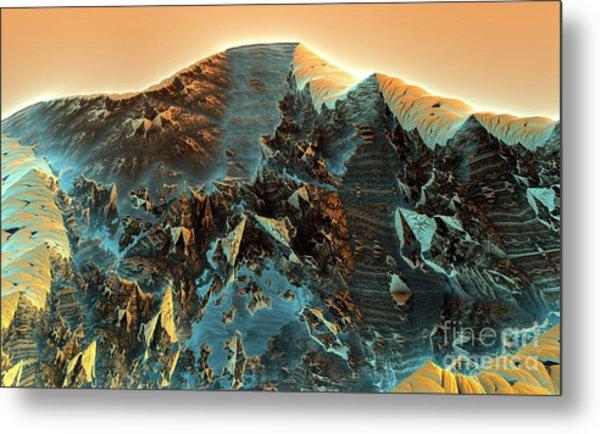Fractal Moutain Metal Print by Bernard MICHEL