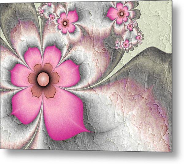 Fractal Nostalgic Flowers 2 Metal Print
