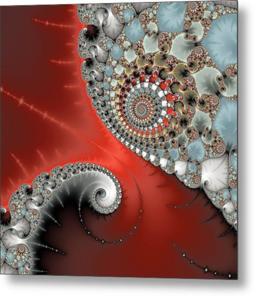 Fractal Spiral Art Red Grey And Light Blue Metal Print
