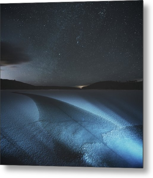 Fracture In Winter Lake Metal Print by Shaunl