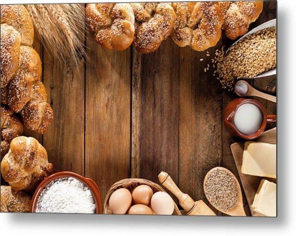 Frame Of Ingredients For Bread Metal Print by Fcafotodigital