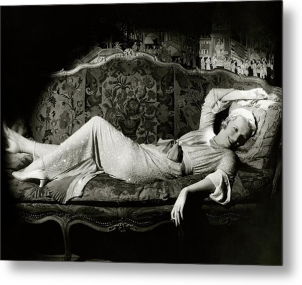 Frances Willams Lying On A Couch Metal Print by Cecil Beaton