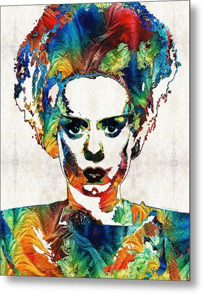 Frankenstein Bride Art - Colorful Monster Bride - By Sharon Cummings Metal Print