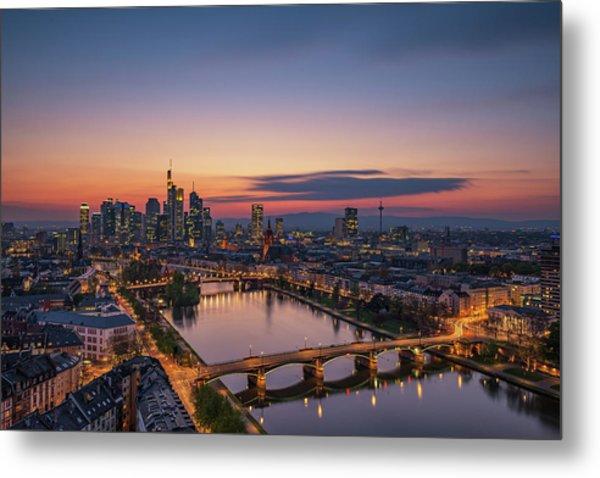 Frankfurt Skyline At Sunset Metal Print by Robin Oelschlegel