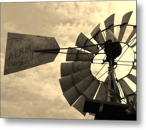 Fredericksburg Herb Farm Aermotor Windmill Sepia Metal Print