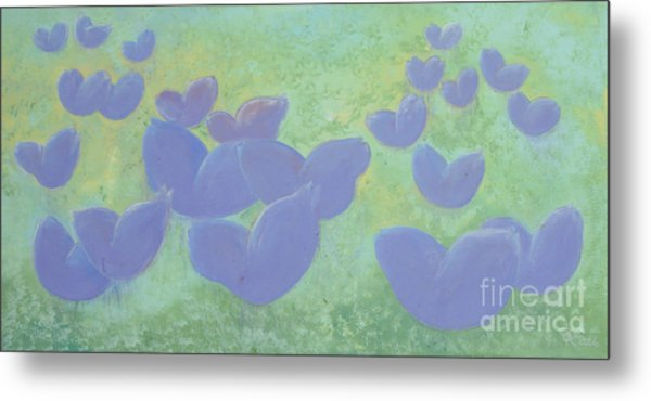 Free Your Hearts Green Lilac Abstract By Chakramoon Metal Print by Belinda Capol