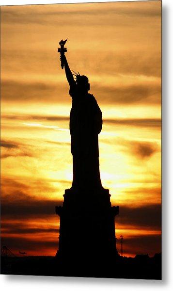 Statue Of Liberty Silhouette Metal Print