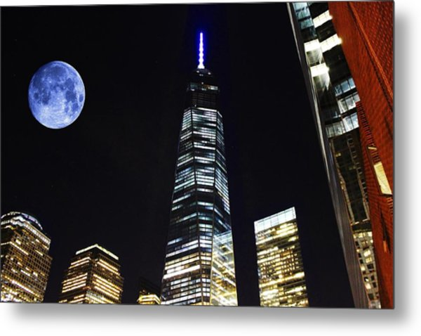Freedom Tower And Blue Moon Metal Print