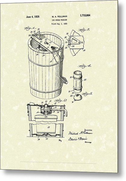 Freezer 1929 Patent Art Metal Print