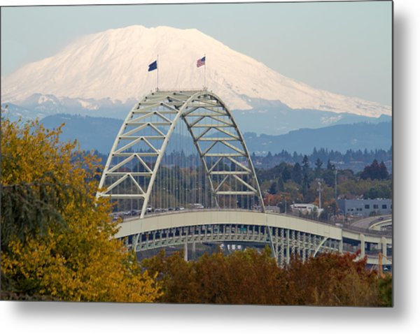 Fremont Bridge And Mount Saint Helens Metal Print