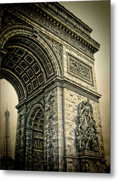 French - Arc De Triomphe And Eiffel Tower Metal Print by Lee Dos Santos