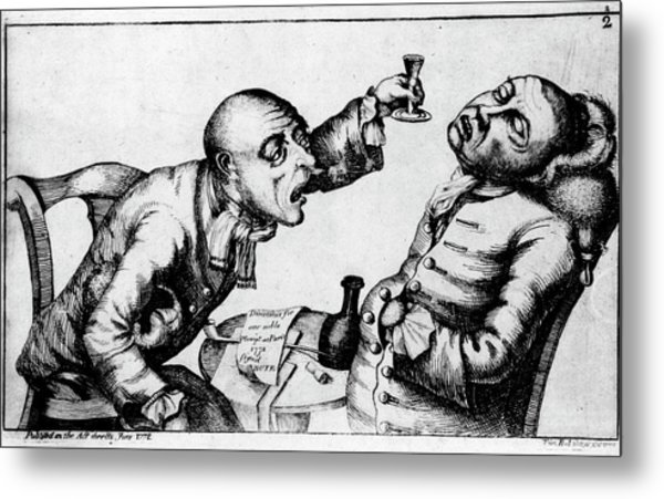 French 18th Century Engraving Of Two Alcoholics Metal Print by National Library Of Medicine/science Photo Library