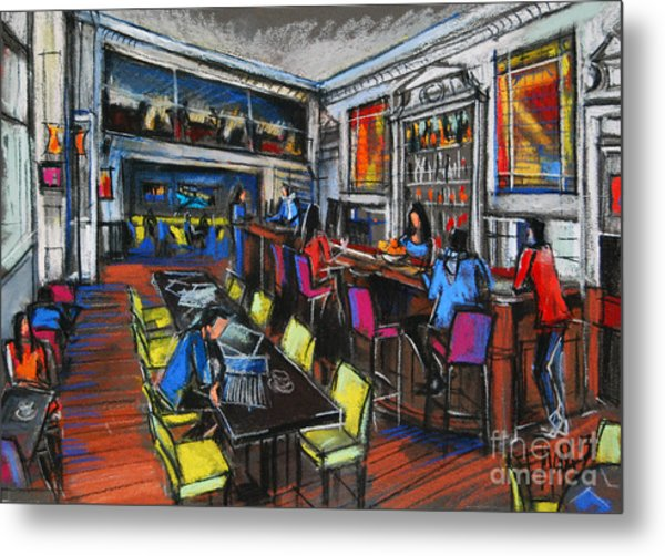 French Cafe Interior Metal Print
