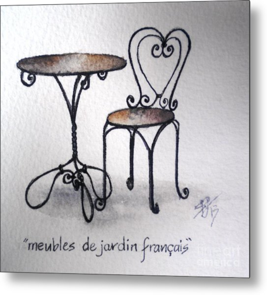 French Chair And Table Metal Print