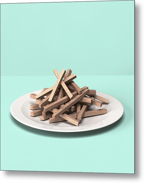 French Fries Made Out Of Wooden Block Metal Print