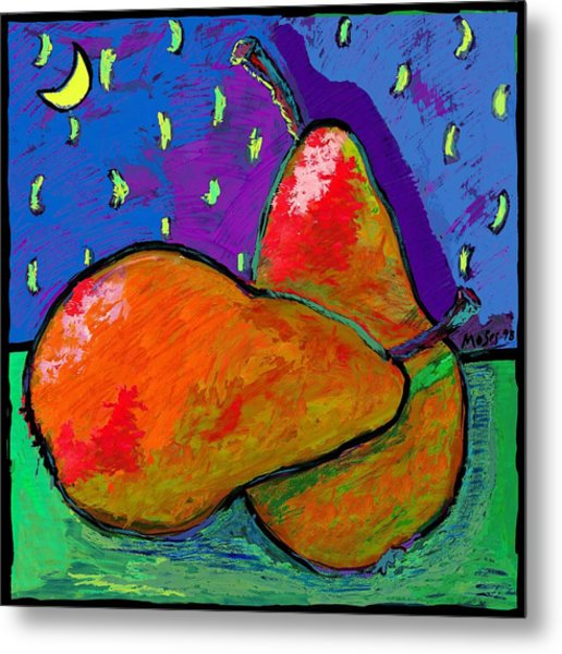 French Pears At Midnight Metal Print
