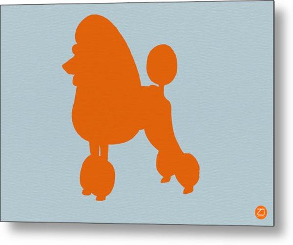 French Poodle Orange Metal Print