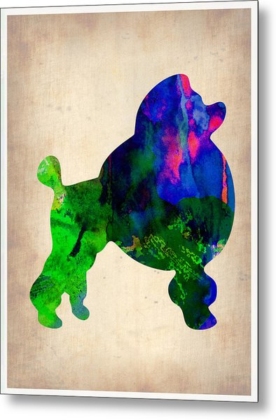 French Poodle Watercolor Metal Print