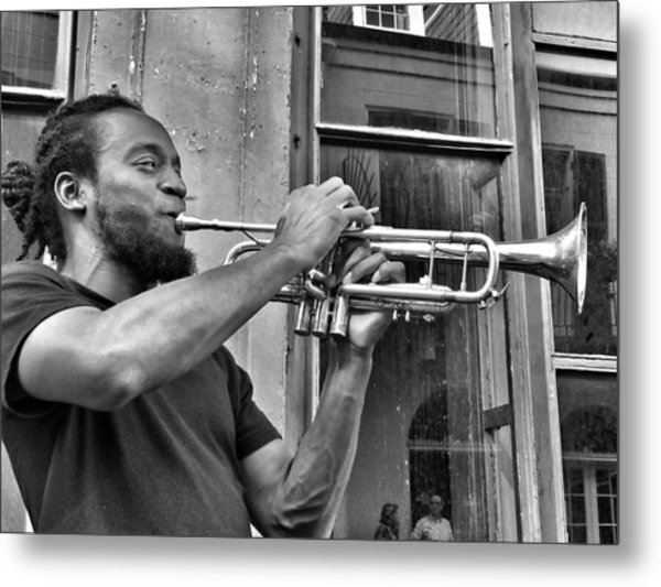 French Quarter Street Musician Metal Print by Mike Barch