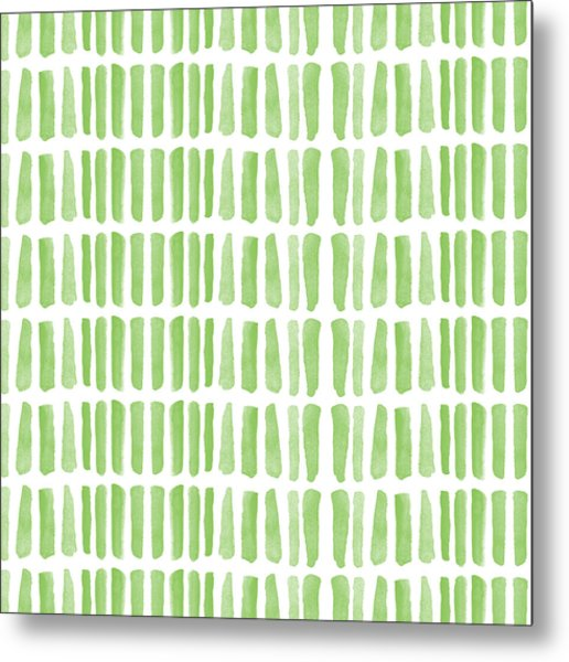 Fresh Grass- Abstract Pattern Painting Metal Print