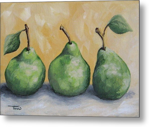 Fresh Green Pears Metal Print