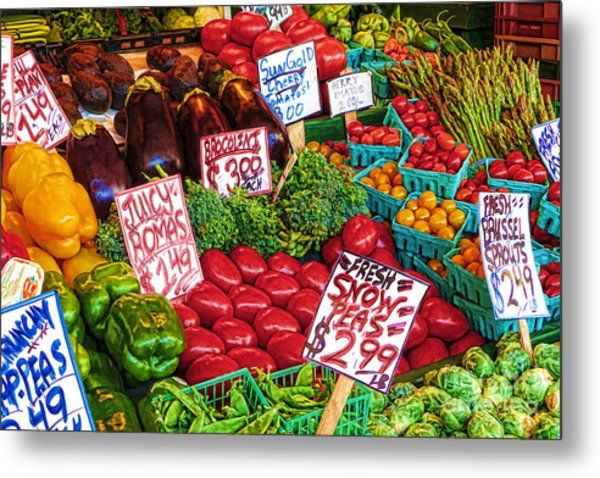 Fresh Market Vegetables Metal Print