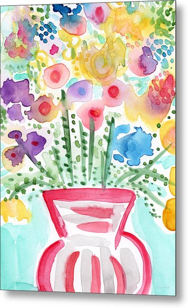Fresh Picked Flowers- Contemporary Watercolor Painting Metal Print