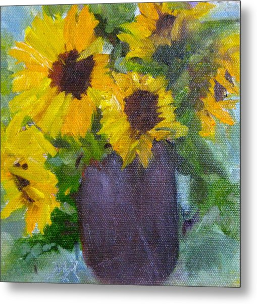 Fresh Sunflowers Metal Print