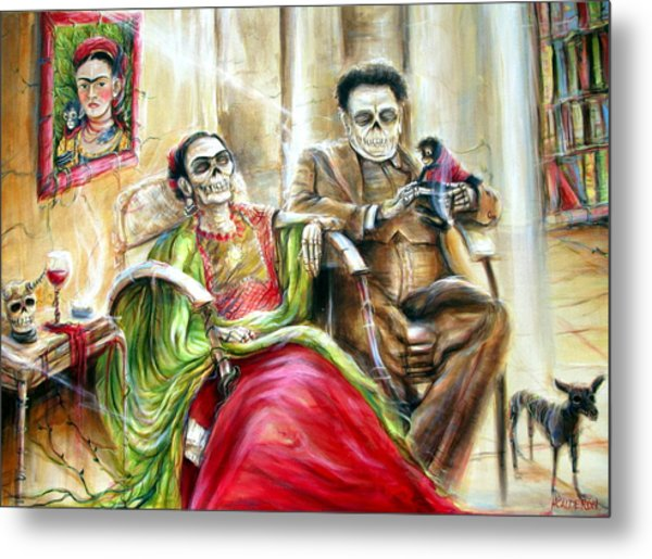Frida And Diego With Pet Monkey Metal Print